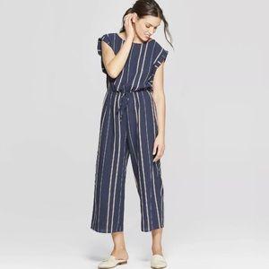 Universal Thread Jumpsuit Small Blue Gray Striped
